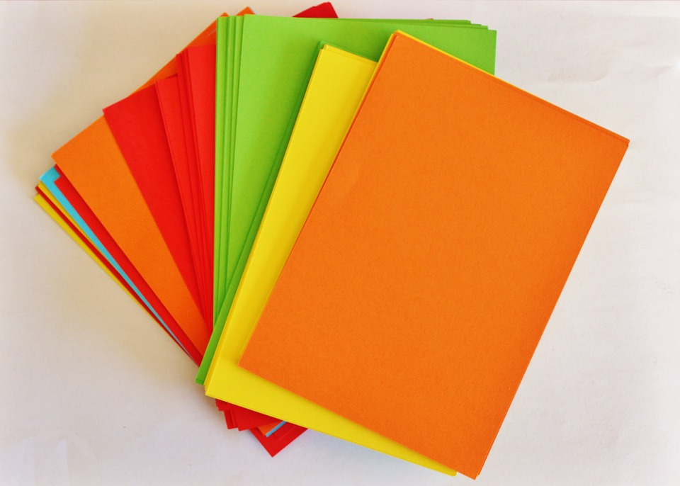 Red Orange Paper Green Yellow Office Colorful